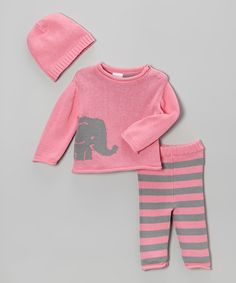 Look what I found on #zulily! Pink Elephant Sweater Set - Infant #zulilyfinds