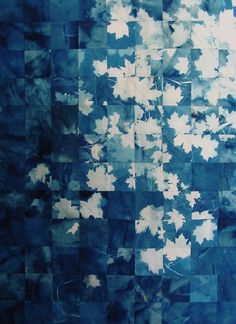 Leaf patchwork. Looks like photo sensitive paints were used with real leaves.
