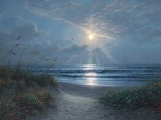 Sanctuary by Mark Keathley Beach night moon oats sea grass sand ocean clouds blue green home decor nature home decorating decorating ideas art painting painter artwork hang me Seascape Paintings, Landscape Paintings, Beach Night, Gallery Website, Beach Art, Large Art, Traditional Art, Painting Inspiration, Canvas Frame