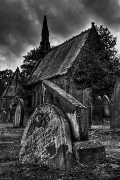 Abandoned church and cemetary. Creepy yet beautiful yet sad.