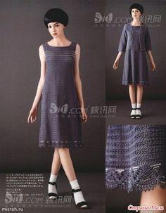 Простое и очень элегантное платье с жакетом. Очень нравится силуэт платья - трапеция...
