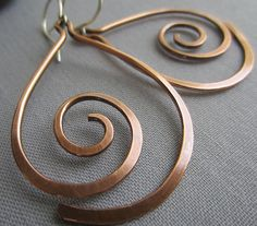 Copper Hammered Earrings/ Copper Wire Earrings/ Big by mese9                                                                                                                                                                                 More