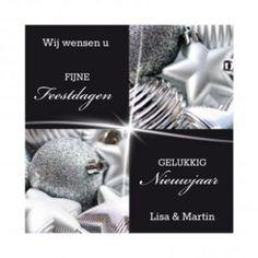 Mooie strakke kerstkaart in zwart-wit-zilver. Met mooie foto's van zilveren kerstballen en zwarte kaders.