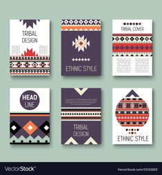 Set of geometric abstract colorful flyers ethnic vector image on VectorStock Brochure Design, Brochure Template, Ethnic Patterns, Modern Graphic Design, Ethnic Fashion, Vector Free, Lettering, Templates, Ethnic Style