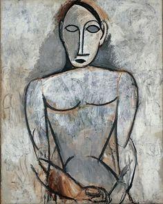 """Pablo Picasso Woman with Joined Hands, Paris, Spring, 1907 [Study for """"Les demoiselles d'Avignon""""] Oil on canvas. Musée National Picasso, Paris."""