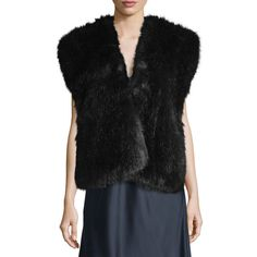 Helmut Lang Faux-Fur Surplice Vest ($111) ❤ liked on Polyvore featuring outerwear, vests, grey, women's apparel vests, navy blue vest, vest waistcoat, helmut lang, navy vest and navy faux fur vest