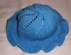 Knitting Galore: Child's Frilled Sun Hat.