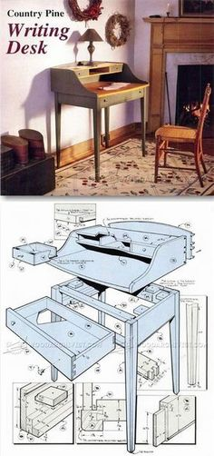 Writing Desk Plans - Furniture Plans and Projects   WoodArchivist.com #woodcraftplans