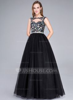 63a986dc529 Ball-Gown Scoop Neck Floor-Length Beading Sequins Zipper Up Spaghetti  Straps Sleeveless No Black General Plus Tulle US 2   UK 6   EU 32 Prom Dress