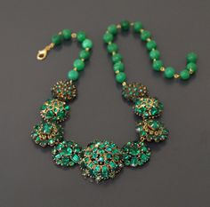 Emerald City. Vintage Statement Necklace that Would Make the Wizard Green with Envy.