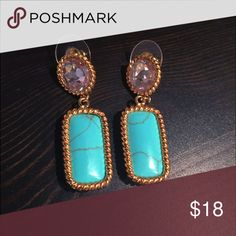 🆕 turquoise stone earrings ⭐️💙 unique turquoise stone & crystal clear stone teardrop earrings. Colors: turquoise and clear stones with gold 💙⭐️ never worn - tags removed 🍃 Jewelry Earrings