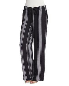 Joie Esty Striped Silk Pants In Caviar/porcelain Joie Clothing, Silk Pants, Striped Pants, Silk Top, Caviar, New Fashion, Esty, Model, Porcelain