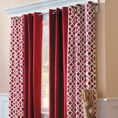 Grommet Top Insulated Curtain Pair-Trellis Print ... like the molding above too