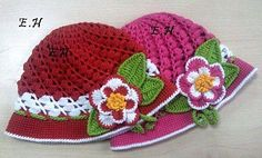 Red or Pink Hat with Flowers free crochet graph pattern