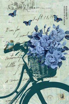 by Nena Kosta Decoupage Vintage, Decoupage Paper, Vintage Diy, Vintage Labels, Vintage Cards, Vintage Paper, Vintage Flowers, Vintage Floral, Blue Flowers