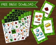 Free party printables Become a Creative Little Parties Member and download loads of fun free printables. Including FREE Mincraft bingo printable set