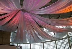 Make your own wedding ceiling canopy.want to look more into this! Tulle Ceiling, Fabric Ceiling, Ceiling Canopy, Wall Drapes, Dance Decorations, Church Wedding Decorations, Party Ceiling Decorations, Wedding Church, Hanging Fabric