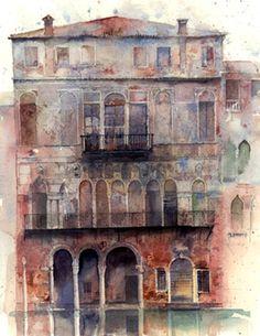 Palazzo Ca da Mosto, Venice Watercolour. Kathy Lewis