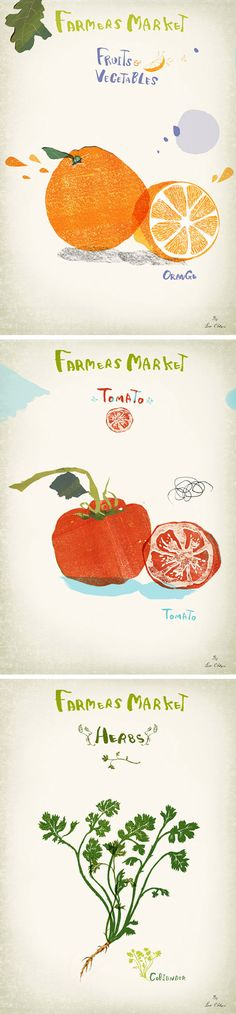 Love these sweet food illustrations, try making your own and hang them on a cork board in your kitchen!