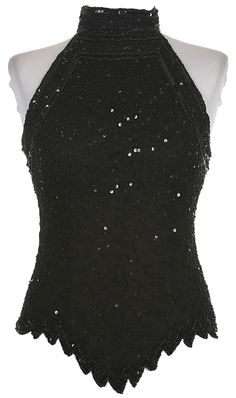 ea081cefc15 Black Beaded   Sequinned Halter Neck Top