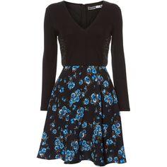 Sportmax Code V neck floral print skater dress ($110) ❤ liked on Polyvore featuring dresses, black, clearance, long sleeve dress, floral skater dress, skater dress, long-sleeve floral dresses and flower print dress
