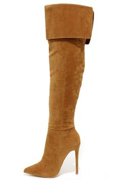 Chestnut Brown Suede Over the Knee Boots ==