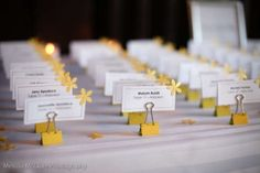Yellow Wedding Place Cards $28....not sure if it's something I would do or not
