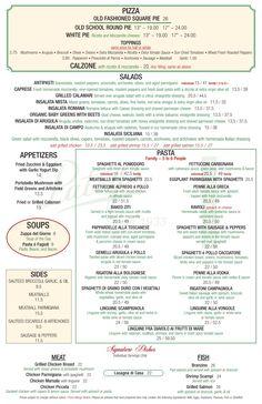PATSYS PIZZERIA Pepperoni Calzone, Square Pie, White Pie, Grilled Calamari, Stuffed Mushrooms, Stuffed Peppers, Organic Baby, Mozzarella, Restaurants