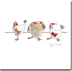Three festive hens, each carrry presents, appear on this Christmas card, ready to wish a very Happy Christmas to the recipient of this card. Perfect for any Hen Lovers you might know!  Printed on high quality watercolour type card. 145 x 145mm with Red envelope. Individually wrapped in a cello bag. Left blank inside for your own creativity