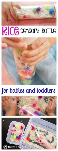 Rice sensory bottles- perfect sensory introduction for toddlers and babies!