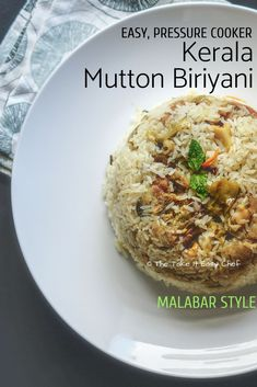 This pressure cooker mutton biryani is an easy-to-cook version of the famed Malabar mutton biryani. Jeerakasala rice cooked with whole spices, soaking up the flavours of juicy mutton simmered with onions, spices, mint and coriander leaves – it is a unio Top Recipes, Indian Food Recipes, Sweets Recipes, Easy Recipes, Recipies, Man Food, Food Food, Trifle Pudding, Biryani Recipe