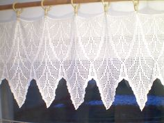 Filet crochet window curtain. $170.00, via Etsy.