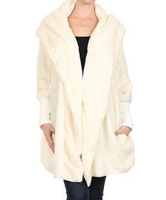 Love this Ivory Fleece Hooded Jacket by Karen T. Design on #zulily! #zulilyfinds