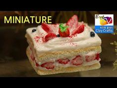 미니어쳐 케이크 파리바게트 딸기듬뿍티라미스 만들기 polymer clay miniature food cake tutorial howto - YouTube