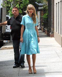 Taylor Swift's Light blue shirtdress.  Outfit details: http://wwtaylorw.com/1097/