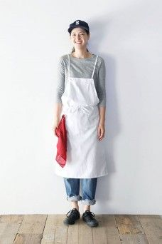 COLOR CHINO SALOPETTE APRON Cafe Uniform, Asian Beauty, Apron, Womens Fashion, People, Pattern, Clothes, Color, Winter