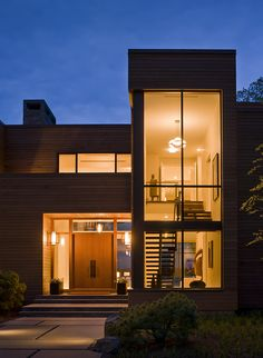 Modern House In Connecticut Modern Exterior, Exterior Design, Luxury Landscaping, Landscaping Melbourne, Landscaping Design, Backyard Landscaping, Solar Panel Cost, H Design, Modern Contemporary Homes