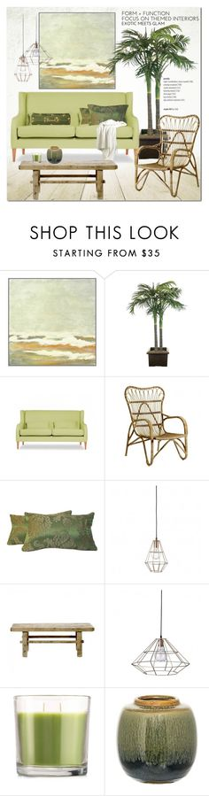 """""""Green Shade for Relaxed Living"""" by cruzeirodotejo ❤ liked on Polyvore featuring interior, interiors, interior design, home, home decor, interior decorating, Dot & Bo, NDI, Bloomingville and Matchstick"""