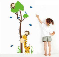Monkey and giraffe Height ChartWall Decal by MissAuraWallDecal