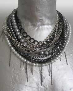 chunky statement multi strand necklace. White Pearls, grey pearl, black and silver chains. bib necklace. Pearl necklace.