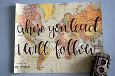 """This <a rel=""""nofollow"""" href=""""https://www.etsy.com/listing/250835160/where-you-lead-i-will-follow-16x20-map?ga_order=most_relevant"""