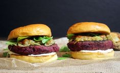 Caramelized onion, roasted beets, sauteed shitake mushrooms, beans served with some goat cheese and a tangy sauce make the best veggie burger recipe ever!