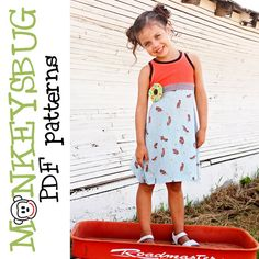 PATTERN - GIRL DRESS - $6.95 - Racerback Tank Top or Dress PDF eBook Pattern INSTANT DOWNLOAD BY MONKEYSBUG'