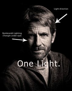 Rembrandt lighting (side of face lit, triangle on opposite cheek, and highlights…
