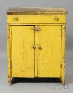 Pine Chrome Yellow Painted Cupboard with Drawer,