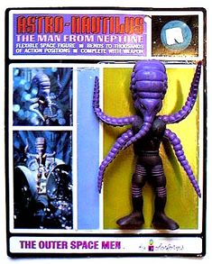 My favorite character from a line of alien action figures in the late called The Outer Space Men, the one from Neptune: Astro-Nautilus. There was a different character from each planet (back when we had nine). Retro Toys, Vintage Toys, Alien Action Figures, Body Action, Old School Toys, Space Toys, Alien Races, Lost In Space, Vinyl Toys