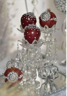 Decorated pomegranates & apples