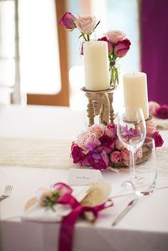 Hot Pink Bouquet adorning Bridal Table by Tirtha Bridal Uluwatu Bali