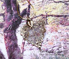 Birch Leaf Necklace, Antique Gold 24K Pendant Necklace Ornament. $13.95, via Etsy.