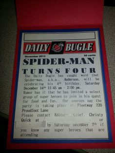 Spiderman birthday invites - made by ccq